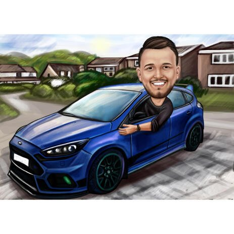 Man in Car - Colored Cartoon Drawing from Photos - example