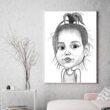 Baby Girl Caricature Printed on Canvas
