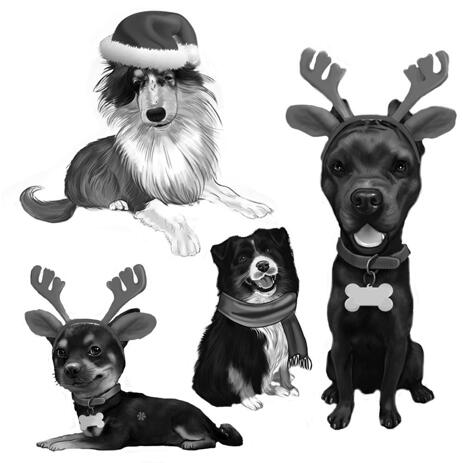 Full Body Christmas Dogs Caricature Portrait in Black and White Style - example