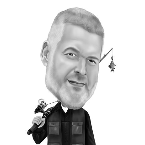 Fishing Person Caricature in Black and White Style from Photos for Fisherman Gift Idea - example