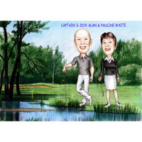 Two Persons Full Body Caricature with Golf Background for Custom Gift