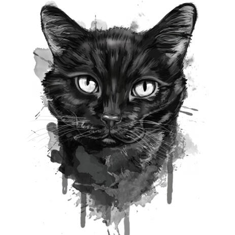 Special Custom Black Watercolor Cat Caricature for Kitten Lovers Gift - example