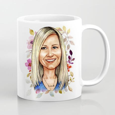 Photo Mug on Mother's Day: Personalized Cartoon Drawing from Photo - example