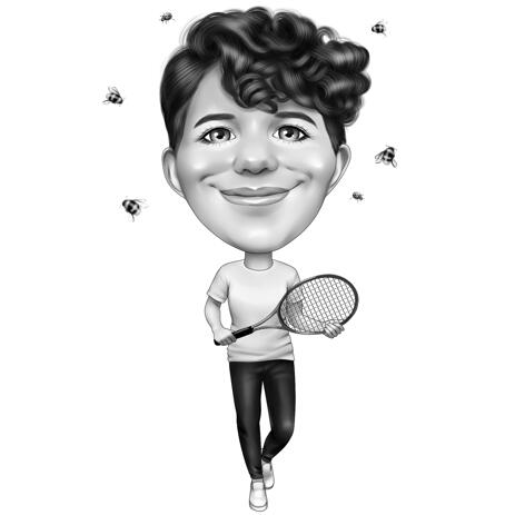 Badminton Player Caricature in Black and White Style Hand Drawn from Photo - example