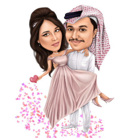 Romantic Love Couple Caricature in Full Body Type on White Background - example