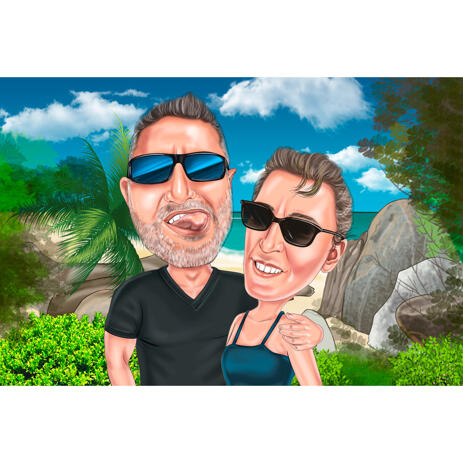 Funny Vacation Couple Caricature on Seabeach Background from Photos - example