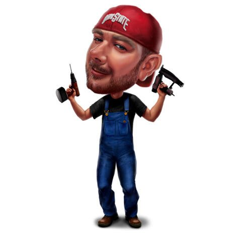 Full Body Construction Builder with Repairman Tools Caricature in Colored Style from Photo - example