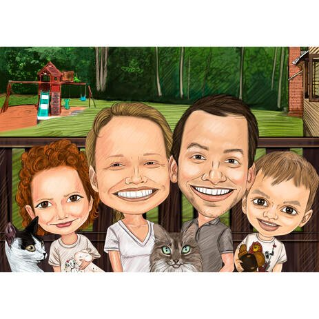 Family with Pets Exaggerated Caricature from Photos - example