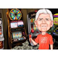 Casino-Mann-Karikatur handgezeichnet im Farbstil vom Foto