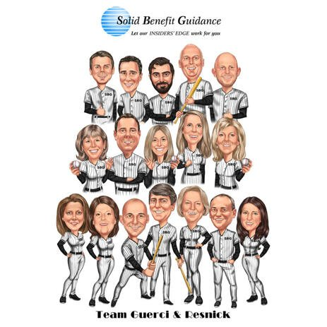 Baseball Team Caricature from Photos - Baseball Group Caricature - example