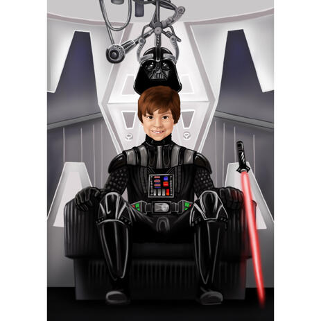 Star Trek Caricatures Portrait with Custom Background for Star Wars Fans - example