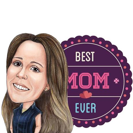 Moms Cartoon Drawing Featuring Mother's Day Design in Colored Pencils Style - example