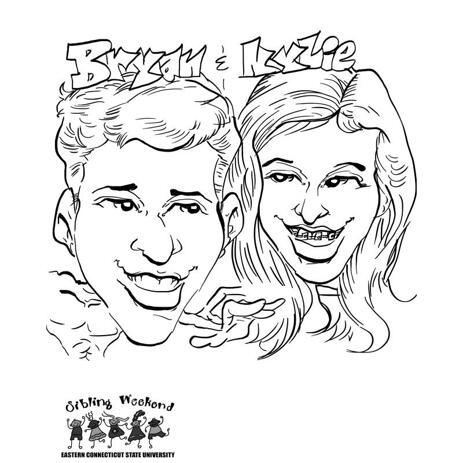 Couple Caricature in Funny Exaggerated Outline Style from Photos - example