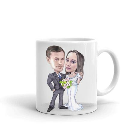 Wedding Caricature on Mug - example