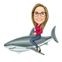 Person Riding a Shark Full Body Caricature in Colored Digital Style