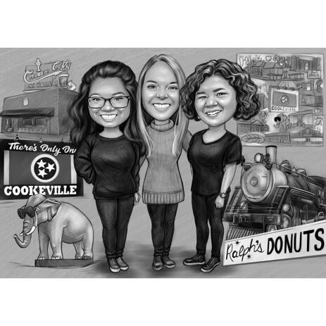 Three Girls Full Body Cartoon Portrait with Custom Background in Black and White - example