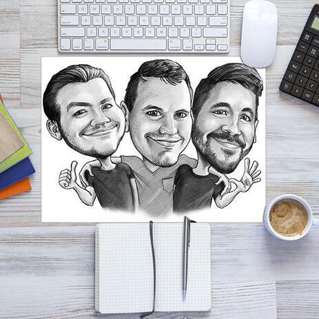 Ystävien karikatyyripiirustus painettu julisteena - example