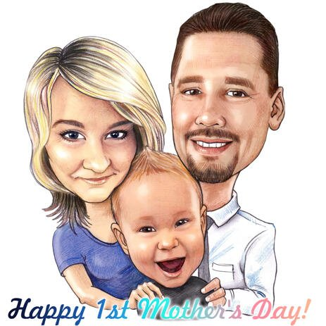 First Mother's Day Gift - Family Caricature from Photos - example