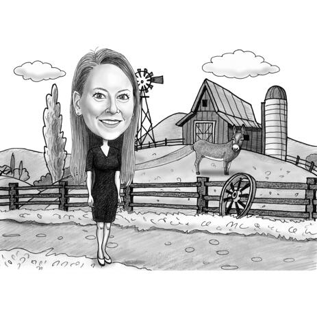 Farm Person Caricature in Black and White Style from Photos - example