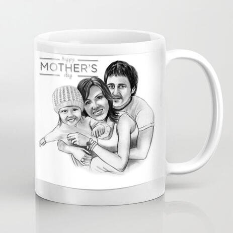 Print on Mug: Lovely Family Portrait Hand Drawn in Black and White Style from Photos - example