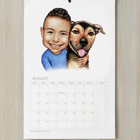 Kid and Dog Caricature as Calendar - example