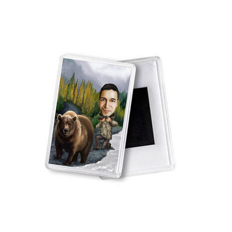 Man with Pet Caricature Magnets - example