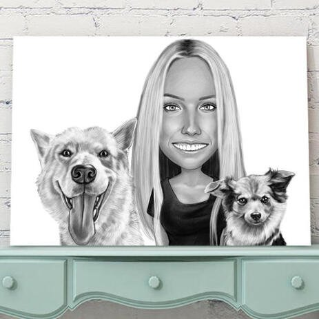 Owner with Pets Caricature on Canvas - example