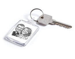 Pencils Caricature of Bride and Groom on Keyrings Print