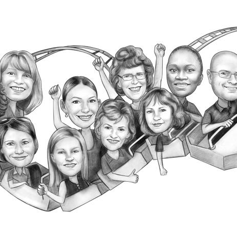 Rollercoaster with Coworkers Staff Caricature Drawing - example