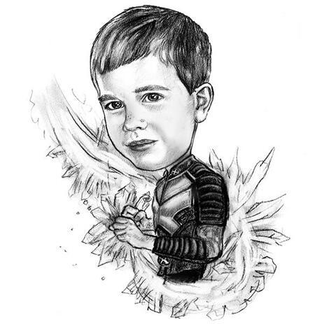 Superheld Kid Karikatur aus Fotos - example