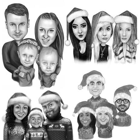 Christmas Group Caricature in Black and White Style - example