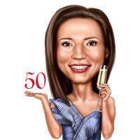 Personskarikatur med champagneglas i farvestil til fødselsdagsgave