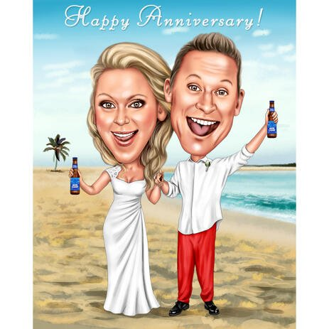 Happy Anniversary Wedding Caricature from Photos - example