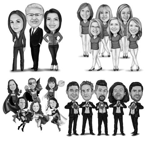 Full Body Group Caricature Portrait in Black and White Style - example