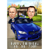 Person with Any Country President in Car Caricature from Photos for Custom Gift