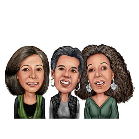 Female Group Caricature Gift Hand Drawn in Colored Style from Photos - example