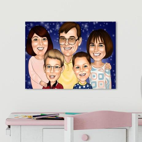 Käsin piirretty perheen ja lasten karikatyyri muotokuva - Ainutlaatuinen isänpäivälahja aviomiehelle kankaalle - example
