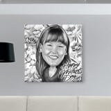 Personalized Mother's Day Gift: Pencils Caricature Printed on Canvas