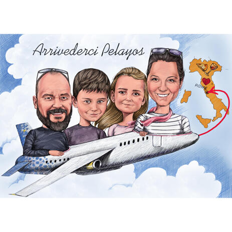 Family on Airplane Caricature Drawing from Photos - example