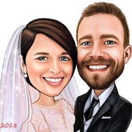Wedding Couple Caricature Drawing in Colored Style