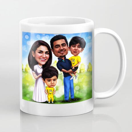 Family with Kids Caricature Mug for Husband Gift on Father's Day - example