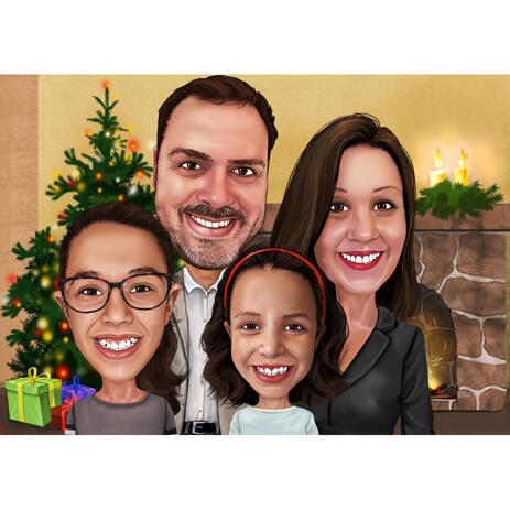 Family Caricature Drawing for Christmas Card - example