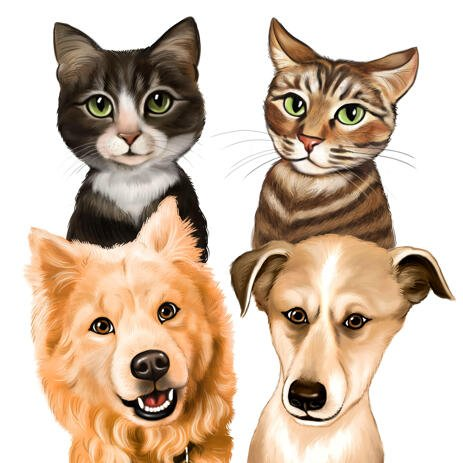 Group of Pets Caricature from Photos - example