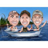 Групповая рыбалка и карикатура на лодке в цветном стиле из фотографий