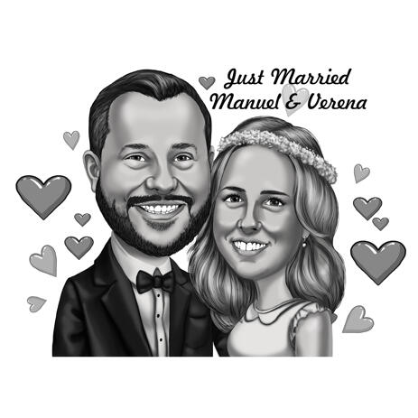 Just Married - Couple Wedding Caricature from Photos for Postcard Gift - example