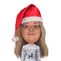 Рождественская сольная карикатура на голову и плечи по фотографиям