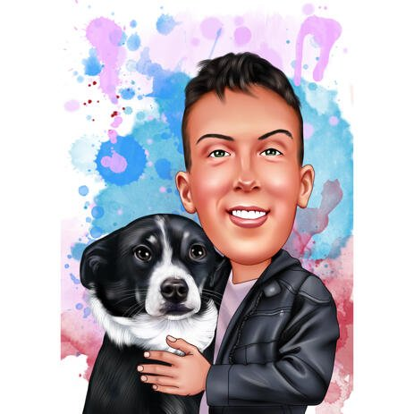 Custom Colored Style Owner with Pet Caricature with Watercolor Background - example