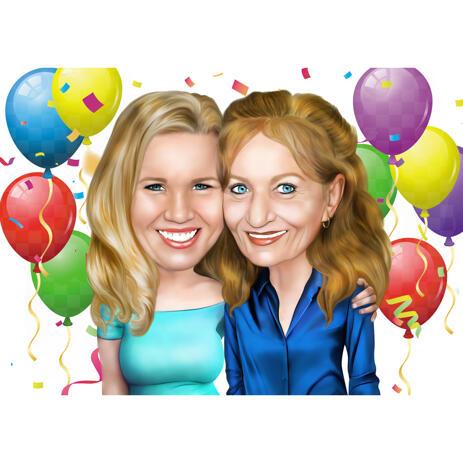 Miglior caricatura del regalo di compleanno della mamma in stile colorato di testa e spalle dalle foto - example