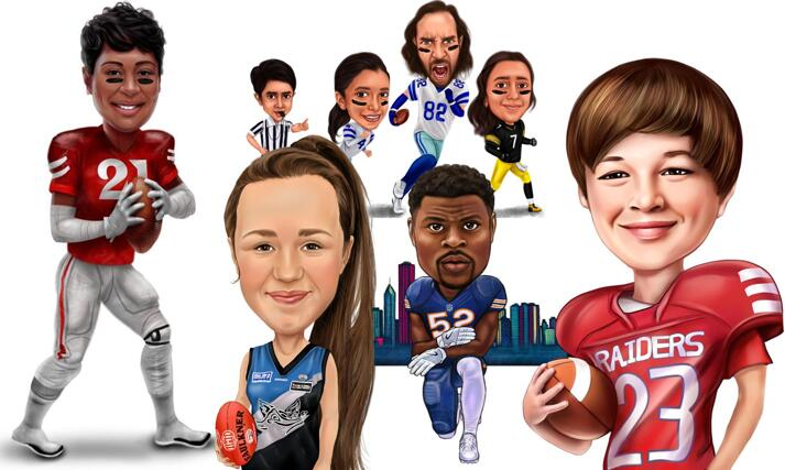 American Football Rugby Caricature large example