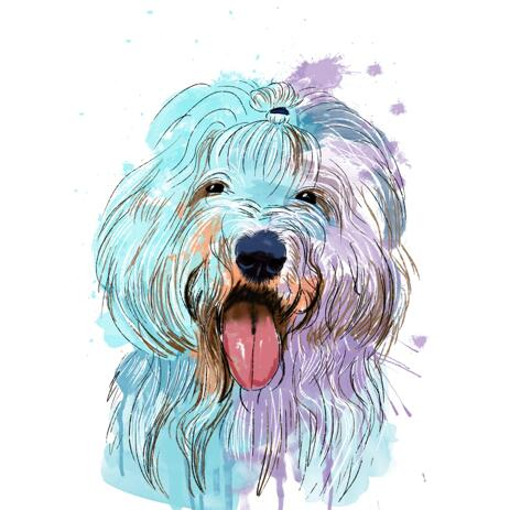 Pastel Watercolor Dog Portrait from Photos - example